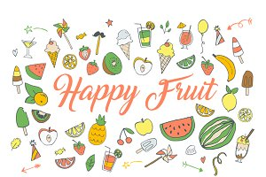 Happy Fruit Ninja Clip art HandDrawn