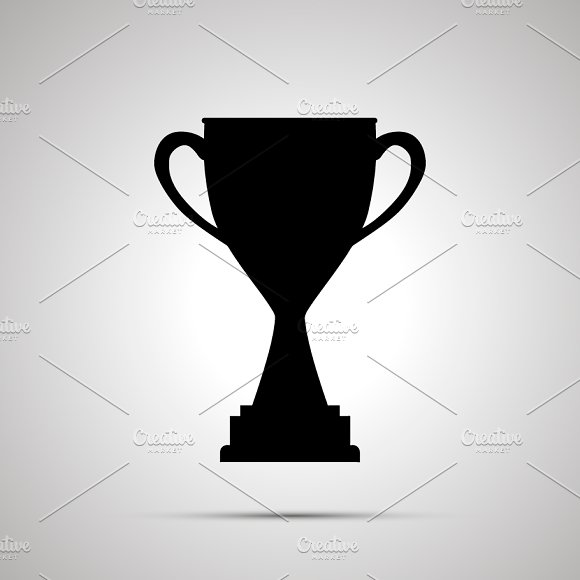 Simple Black Icon Of Winner Cup