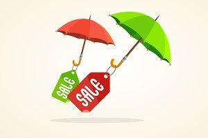 Vector umbrellas with sale stickers.
