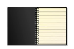 Black open realistic spiral notepad