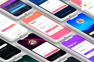 Login - Mobile UI Kit for iPhone X