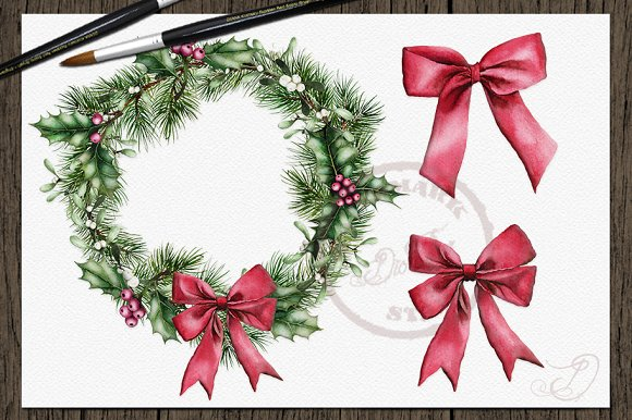 Rustic Christmas Watercolor Clip Art Illustrations Creative Market