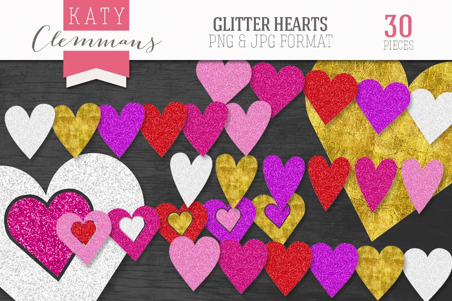 Glitter Hearts clip art pack