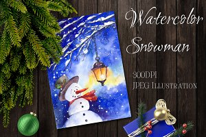 SALE Watercolor snowman Christmas