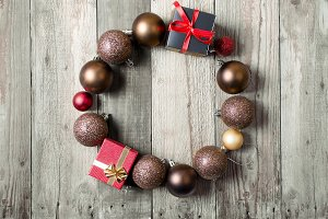 Christmas wreath of brown balls and