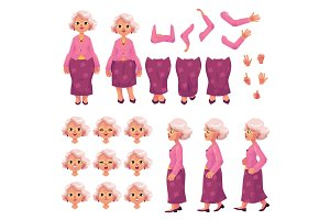 Old, senior woman character creation set