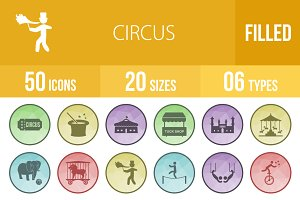 50 Circus Filled Low Poly Icons