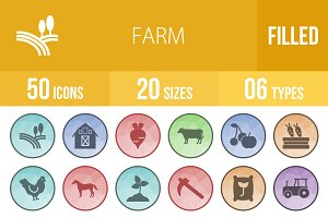 50 Farm Filled Low Poly Icons