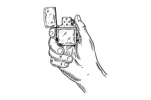 Lighter in hand engraving vector illustration
