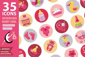 Newborn baby icons.Girl set 1