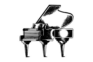 Grand piano engraving vector illustration