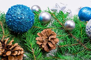 christmas background with fir, blue