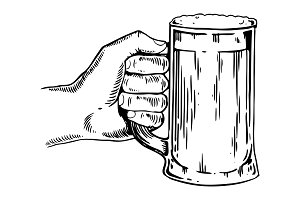 Beer mug in hand engraving vector illustration