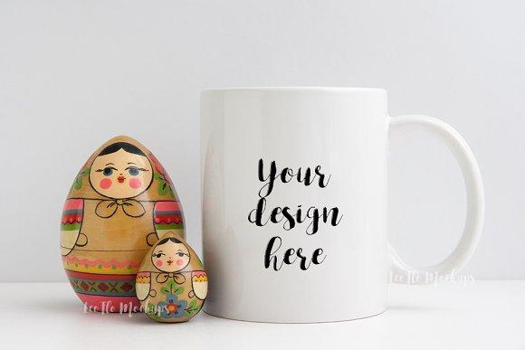 White Coffee Mug Mockup And Babushka