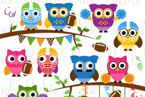 Football Sports Owl Clipart & Vector