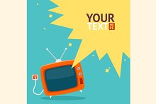 Vector retro television card. Flat