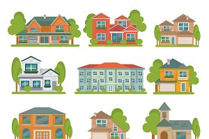 Buildings Flat Icon Set