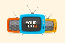 Vector banner retro tv. Flat Design