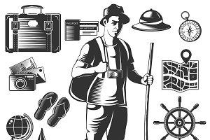 Vintage Wanderlust Icon Set