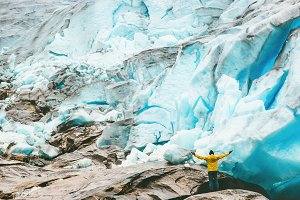 Happy Man enjoying glacier view