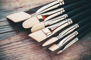 Set of artist paintbrushes