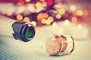 Champagne wine and bottle cork