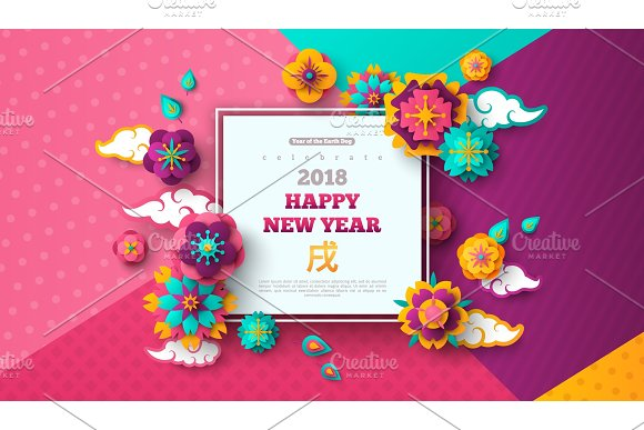 2018 chinese new year modern geometric background illustrations