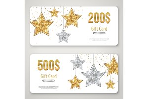 Gift Card Design with Gold Glitter Stars on White