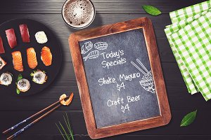 Sushi Bar Chalkboard Menu Mock-up #4