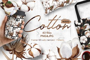 Cotton flowers PNG watercolor set