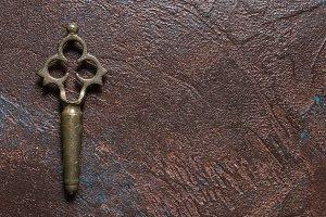 Antique brass samovar tap key