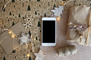 iPhone, gift and Christmas decor