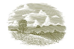 Woodcut Vintage Countryside