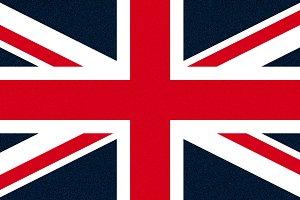 flag of the United Kingdom (UK) aka Union Jack glittering speckles