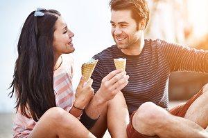 romantic couple eating ice cream