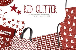 Red glitter digital papers
