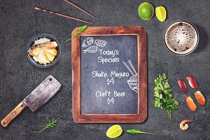 Sushi Bar Chalkboard Menu Mock-up #3