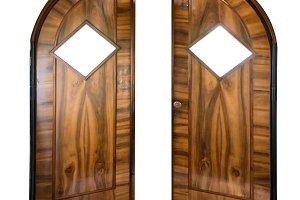 Open old wooden door
