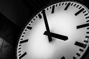 Close up clock at rush hours