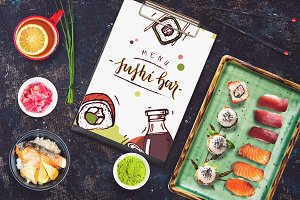 Sushi Bar Menu Mock-up #1