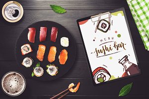 Sushi Bar Menu Mock-up #5