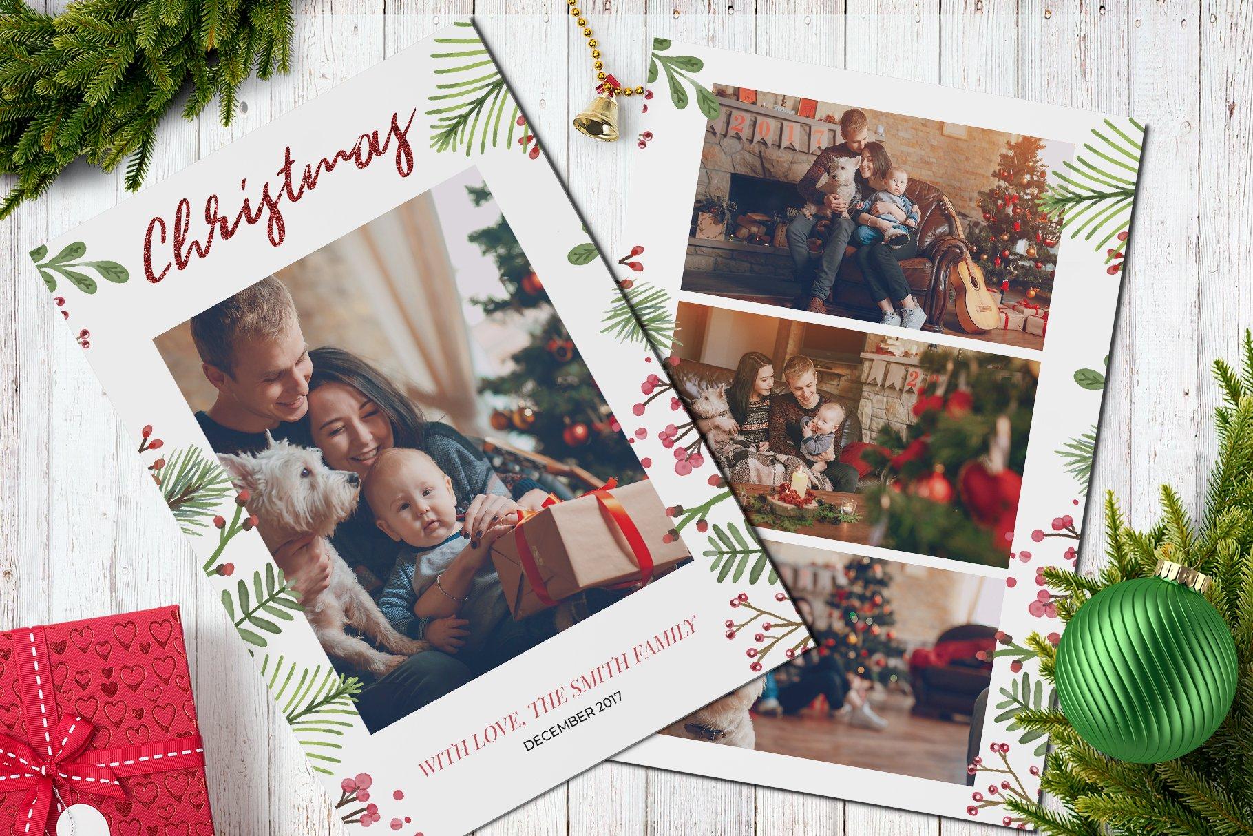 Christmas Postcard Template X V Card Templates Creative Market - Christmas postcard template