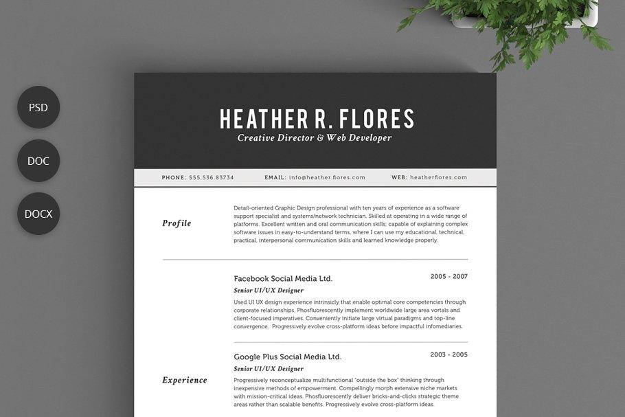 2 Pages Resume Set   CV Template ~ Resume Templates ~ Creative Market