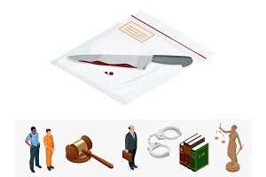 Isometric knife, evidence in a transparent package. Crime scene investigation collecting evidence. Vector illustration