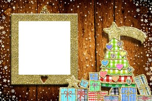 Christmas empty photo frame greeting