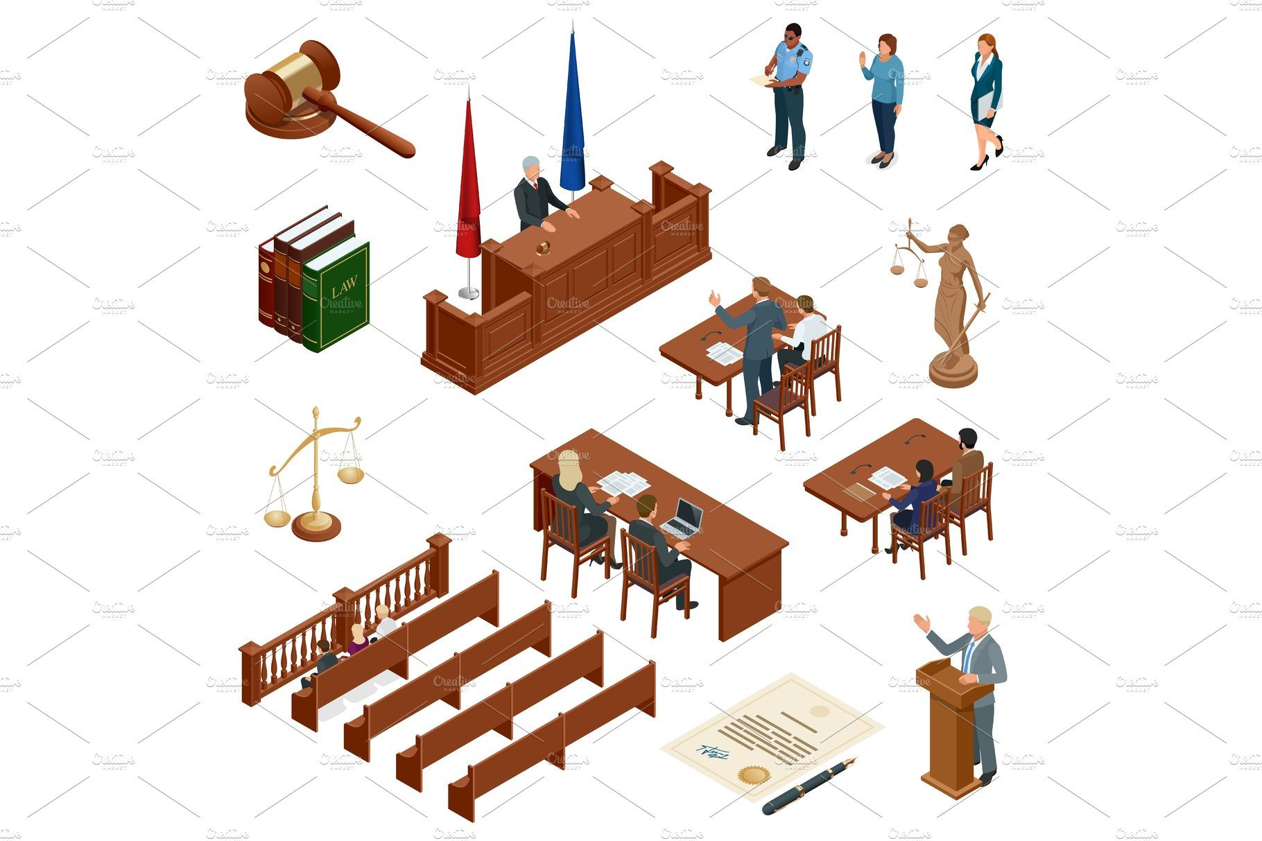 Isometric Law And Justice Concept Law Theme Mallet Of The Judge