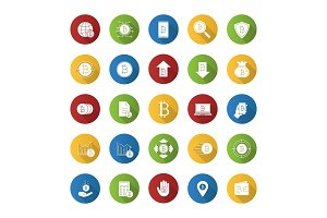 Bitcoin flat design long shadow glyph icons set