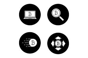Bitcoin glyph icons set
