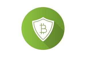 Safe bitcoin payments flat design long shadow glyph icon