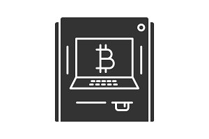 ATM machine with bitcoin sign glyph icon